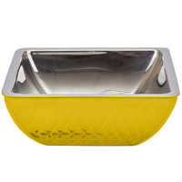 Bon Chef Diamond Collection Cold Wave 2 Qt. Yellow Triple Wall Square Bowl