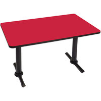 Correll BTT3060-35 30 inch x 60 inch Rectangular Red Finish Standard Height High Pressure Cafe / Breakroom Table with Two T Bases