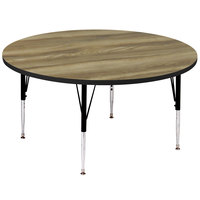 Correll A60-RND-53 60 inch Round Colonial Hickory Finish 19 inch - 29 inch Adjustable Height Premium Laminate High Pressure Top Activity Table