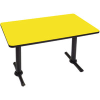 Correll BTT3048-38 30 inch x 48 inch Rectangular Yellow Finish Standard Height High Pressure Cafe / Breakroom Table with Two T Bases