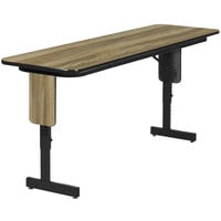 Correll SPA1860PX-53 18 inch x 60 inch Colonial Hickory Finish Premium Laminate Adjustable Height High Pressure Folding Seminar Table with Panel Legs