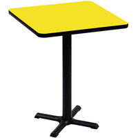 Correll BXB36S-38 36 inch Square Yellow Finish Bar Height High Pressure Cafe / Breakroom Table