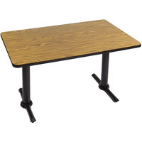 Correll BTT3060-06 30 inch x 60 inch Rectangular Medium Oak Finish Standard Height High Pressure Cafe / Breakroom Table with Two T Bases