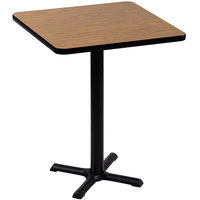 Correll BXB24S-06 24 inch Square Medium Oak Finish Bar Height High Pressure Cafe / Breakroom Table