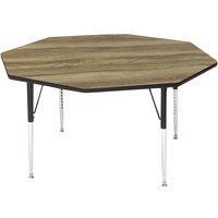 Correll A48-OCT-53 48 inch Octagon Colonial Hickory Finish 19 inch - 29 inch Adjustable Height Premium Laminate High Pressure Top Activity Table
