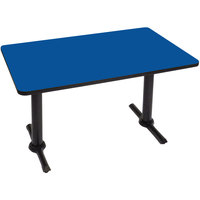 Correll BTT3048-37 30 inch x 48 inch Rectangular Blue Finish Standard Height High Pressure Cafe / Breakroom Table with Two T Bases
