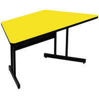 Correll CS3060TR-38 60 inch x 30 inch Trapezoid Yellow Finish Keyboard Height High Pressure Top Computer Table