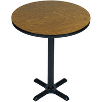 Correll BXB30R-06 30 inch Round Medium Oak Finish Bar Height High Pressure Cafe / Breakroom Table