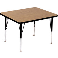 Correll A4848-SQS-06 48 inch Square 16 inch - 25 inch Medium Oak Finish Adjustable Height High Pressure Top Activity Table