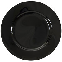 10 Strawberry Street BRB0024 Black Rim 12 1/4 inch Round Porcelain Charger Plate
