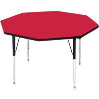Correll A48-OCTS-35 48 inch Octagon 16 inch - 25 inch Red Finish Adjustable Height High-Pressure Top Activity Table