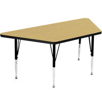 Correll A3060-TRP-16 60 inch x 30 inch Trapezoid 19 inch - 29 inch Fusion Maple Finish Adjustable Height High-Pressure Top Activity Table