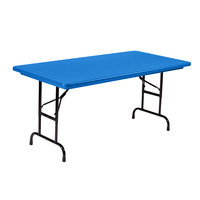 Correll R-Series RA3060 30 inch x 60 inch Blue Plastic Adjustable Height Folding Table - Standard Legs