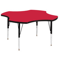 Correll A48-CLOS-35 48 inch Clover 16 inch - 25 inch Red Finish Adjustable Height High-Pressure Top Activity Table