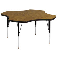 Correll A48-CLOS-06 48 inch Clover 16 inch - 25 inch Medium Oak Finish Adjustable Height High-Pressure Top Activity Table