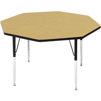 Correll A48-OCTS-16 48 inch Octagon 16 inch - 25 inch Fusion Maple Finish Adjustable Height High-Pressure Top Activity Table