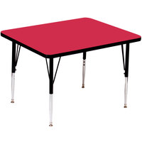 Correll A4242-SQS-35 42 inch Square 16 inch - 25 inch Red Finish Adjustable Height High Pressure Top Activity Table