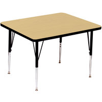 Correll A4848-SQS-16 48 inch Square 16 inch - 25 inch Fusion Maple Finish Adjustable Height High Pressure Top Activity Table