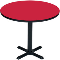 Correll BXB36R-35 36 inch Round Red Finish Bar Height High Pressure Cafe / Breakroom Table