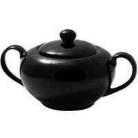 10 Strawberry Street BRB0018 Black Rim 8 oz. Porcelain Sugar Bowl with Lid - 6/Case