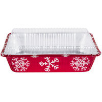 Durable Packaging 9201X 2 1/4 lb. Rectangular Holiday Foil Bake Pan with Clear Dome Lid - 100 / Case