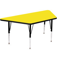 Correll A2448-TRP-38 48 inch x 24 inch Trapezoid 19 inch - 29 inch Yellow Finish Adjustable Height High-Pressure Top Activity Table
