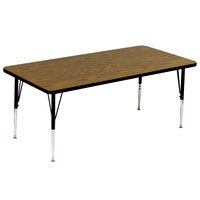 Correll A3072-RECS-06 72 inch x 30 inch Rectangular 16 inch - 25 inch Adjustable Height High Pressure Medium Oak Top Activity Table