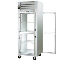 Traulsen G16004P 1 Section Half Solid Front, Half Glass Back Door Pass-Through Refrigerator - Left / Left Hinged Doors