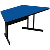 Correll CS3060TR-37 60 inch x 30 inch Trapezoid Blue Finish Keyboard Height High Pressure Top Computer Table