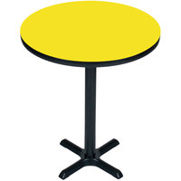 Correll BXB24R-38 24 inch Round Yellow Finish Bar Height High Pressure Cafe / Breakroom Table