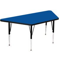 Correll A3060-TRPS-37 60 inch x 30 inch Trapezoid 16 inch - 25 inch Blue Finish Adjustable Height High-Pressure Top Activity Table