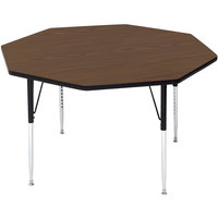 Correll A48-OCTS-01 48 inch Octagon 16 inch - 25 inch Walnut Finish Adjustable Height High-Pressure Top Activity Table