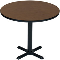 Correll BXB36R-01 36 inch Round Walnut Finish Bar Height High Pressure Cafe / Breakroom Table