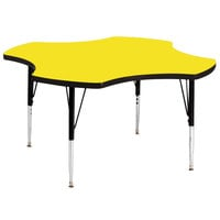 Correll A48-CLOS-38 48 inch Clover 16 inch - 25 inch Yellow Finish Adjustable Height High-Pressure Top Activity Table