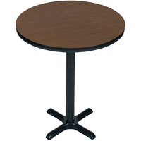 Correll BXB30R-01 30 inch Round Walnut Finish Bar Height High Pressure Cafe / Breakroom Table