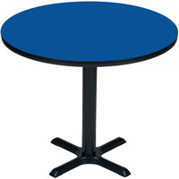 Correll BXB36R-37 36 inch Round Blue Finish Bar Height High Pressure Cafe / Breakroom Table