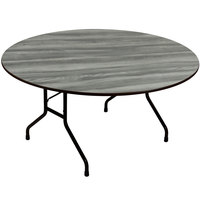 Correll CF60PX-52 60 inch Round Premium Laminate 3/4 inch New England Driftwood Adjustable Height High-Pressure Heavy-Duty Folding Table