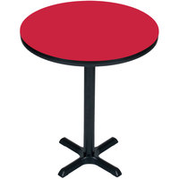 Correll BXB24R-35 24 inch Round Red Finish Bar Height High Pressure Cafe / Breakroom Table