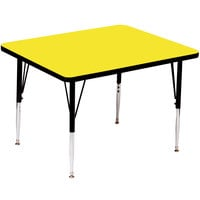 Correll A4242-SQS-38 42 inch Square 16 inch - 25 inch Yellow Finish Adjustable Height High Pressure Top Activity Table
