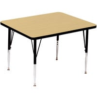 Correll A3636-SQS-16 36 inch Square 16 inch - 25 inch Fusion Maple Finish Adjustable Height High Pressure Top Activity Table