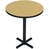 Correll BXB24R-16 24 inch Round Fusion Maple Finish Bar Height High Pressure Cafe / Breakroom Table