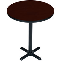 Correll BXB24R-20 24 inch Round Mahogany Finish Bar Height High Pressure Cafe / Breakroom Table