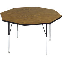 Correll A48-OCTS-06 48 inch Octagon 16 inch - 25 inch Medium Oak Finish Adjustable Height High-Pressure Top Activity Table