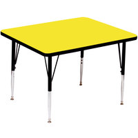 Correll A4848-SQS-38 48 inch Square 16 inch - 25 inch Yellow Finish Adjustable Height High Pressure Top Activity Table