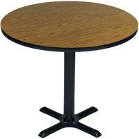 Correll BXB48R-06 48 inch Round Medium Oak Finish Bar Height High Pressure Cafe / Breakroom Table