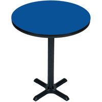 Correll BXB24R-37 24 inch Round Blue Finish Bar Height High Pressure Cafe / Breakroom Table