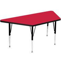 Correll A3060-TRP-35 60 inch x 30 inch Trapezoid 19 inch - 29 inch Red Finish Adjustable Height High-Pressure Top Activity Table