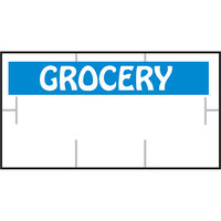 Garvey 1910-85105 1910 Series 3/4 inch x 3/8 inch White / Blue GROCERY 1065-Count Three-Line Cross-Cut Pricemarker Label Roll - 16/Pack