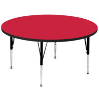 Correll A60-RND-35 60 inch Round 19 inch - 29 inch Red Adjustable Height High-Pressure Top Activity Table