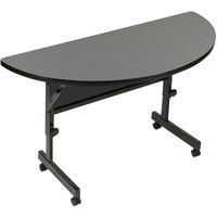Correll FT2448HR-55 24 inch x 48 inch Montana Granite Half Round Premium Laminate High Pressure Deluxe Flip Top Table